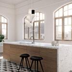 מודל אבן קיסר 5143 White Attica במטבח עם אי